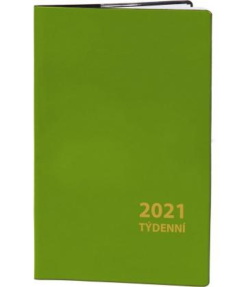 Pocket diary fortnightly PVC - green 2021