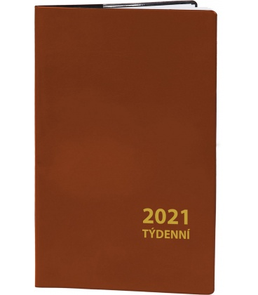 Pocket diary fortnightly PVC - brown 2021