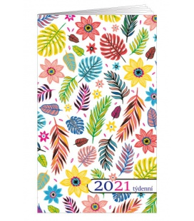 Pocket diary fortnightly lamino - Lístky 2021
