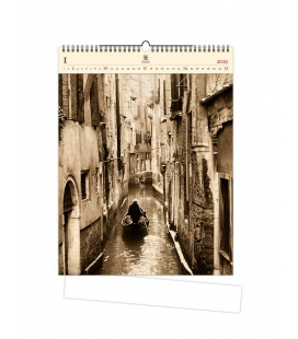 Wall calendar Venezia (motive on the wooden material) 2021