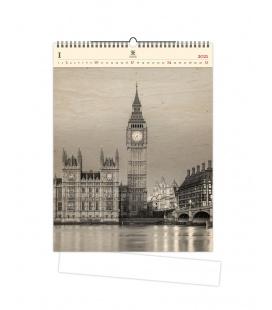 Wall calendar Big Ben (motive on the wooden material) 2021