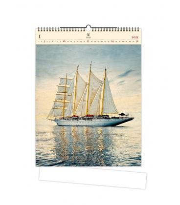 Wall calendar Sailing (motive on the wooden material) 2021