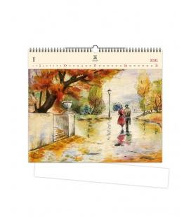Wall calendar Romance (motive on the wooden material) 2021