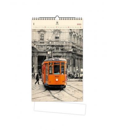 Wall calendar Tram (motive on the wooden material) 2021