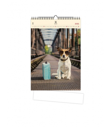 Wall calendar Dog (motive on the wooden material) 2021