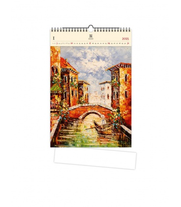Wall calendar Venezia III. (motive on the wooden material) 2021