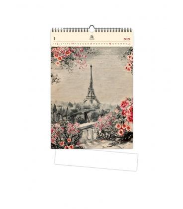 Wall calendar Eiffel Tower (motive on the wooden material) 2021