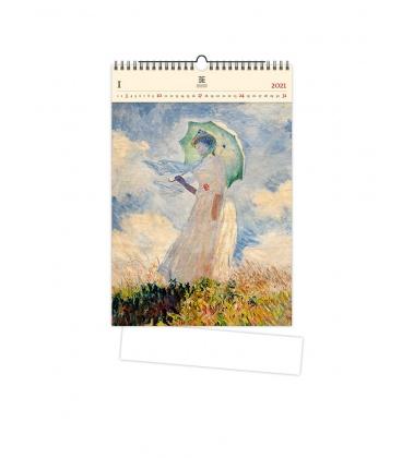 Wall calendar Monet (motive on the wooden material) 2021