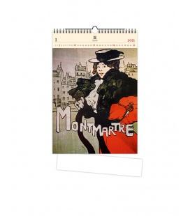 Wall calendar Montmartre (motive on the wooden material) 2021