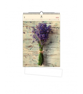 Wall calendar Lavender (motive on the wooden material) 2021