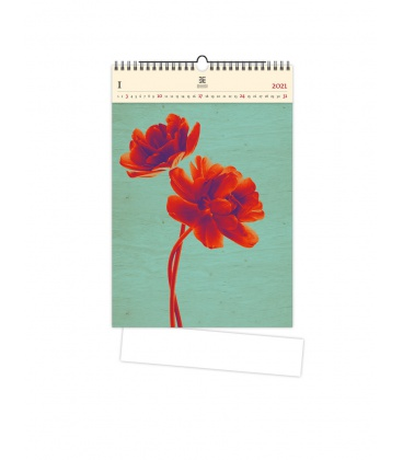 Wall calendar Tulip (motive on the wooden material) 2021