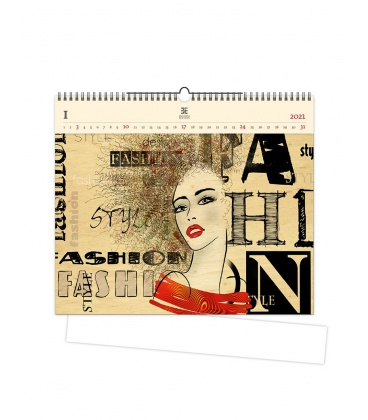 Wall calendar Fashion (motive on the wooden material) 2021