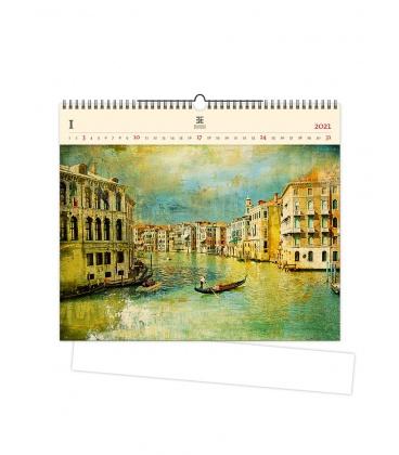 Wall calendar Venezia IV. (motive on the wooden material) 2021