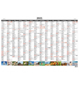 Wall calendar Yearly planing map A1 with pictures 2021
