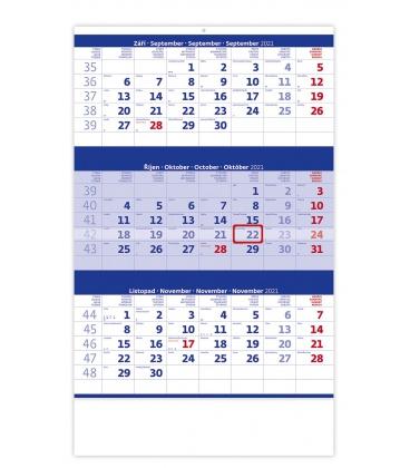 Wall calendar Blue 3 monthly / Tříměsíční modrý 2021
