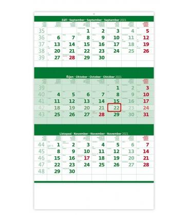 Wall calendar Green 3 monthly / Tříměsíční zelený 2021