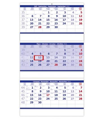 Wall calendar Blue 3 monthly - folded / Tříměsíční skládaný modrý 2021