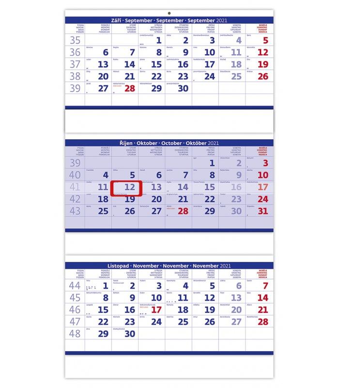 Wandkalender Blau 3 monatlich - gefaltet / Tříměsíční ...