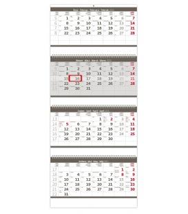 Wall calendar Grey 4 monthly - folded  / Čtyřměsíční skládaný šedý 2021