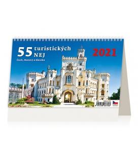 Table calendar 55 turistických nej Čech, Moravy a Slezska 2021