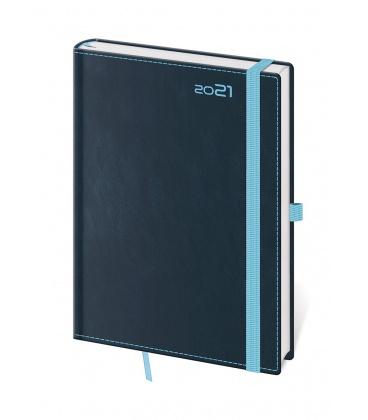 Daily Diary A5 Double Blue s poutkem na propisku blue 2021
