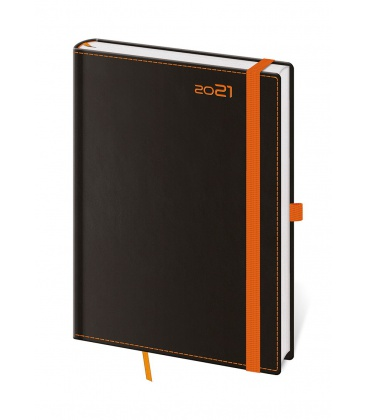 Daily Diary A5 Black Orange s poutkem na propisku black, orange 2021