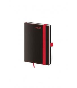 Weekly Pocket Diary Black Red s poutkem na propisku black, red 2021