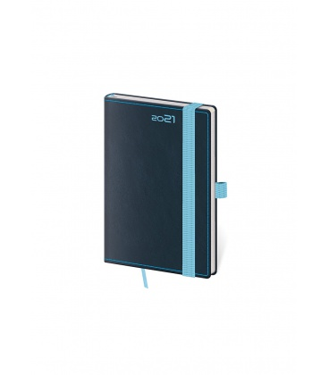 Weekly Pocket Diary Double Blue s poutkem na propisku blue 2021