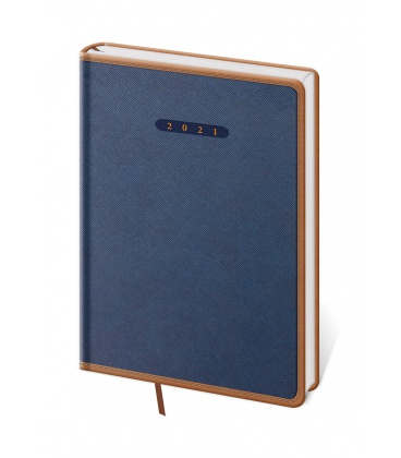 Daily Diary A5 Elegant blue, brown 2021