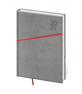 Daily Diary A5 Grife grey, red 2021