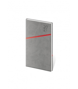 Weekly Pocket Diary Grife grey, red 2021