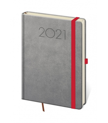 Daily Diary A5 New Praga grey, red 2021