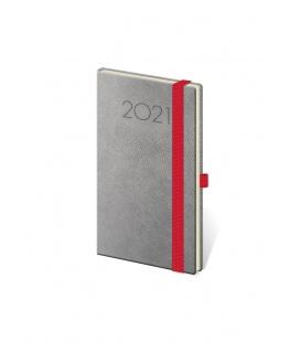 Weekly Pocket Diary New Praga grey, red 2021