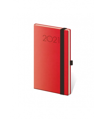 Weekly Pocket Diary New Praga red, black 2021