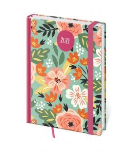 Daily Diary A5 Vario - Flowers s gumičkou 2021