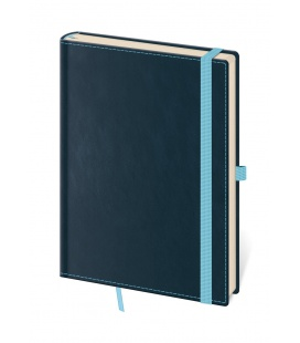 Notepad - Zápisník Double Blue - unlined L blue 2021