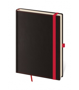 Notepad - Zápisník Black Red - dotted M black, red 2021