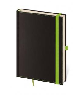 Notepad - Zápisník Black Green - dotted M black, green 2021
