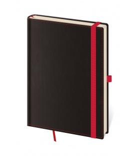 Notepad - Zápisník Black Red - dotted S black, red 2021
