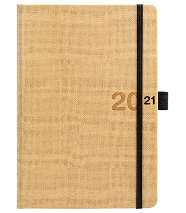 Daily Diary A5 Canvas beige, black 2021