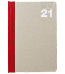 Weekly Diary A5 Natura red, beige 2021