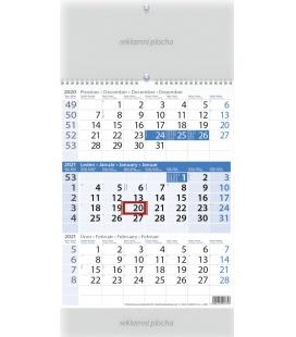 Wall calendar Tříměsíční modrý 2021