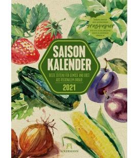 Wall calendar Saisonkalender - Obst & Gemüse - Graspapier-Kalender 2021