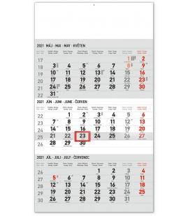 Wall calendar 3months Standard grey with Slovak names 2021