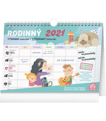Table calendar Weekly family planner with hook 2021