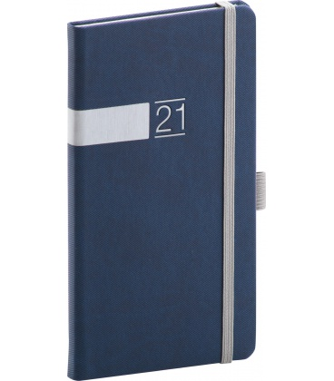 Weekly pocket diary Twill blue, silver 2021