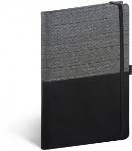 Notebook A5 Skiver, black, grey, lined 2021