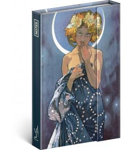 Notebook pocket magnetic Alphonse Mucha – Luna, lined 2021