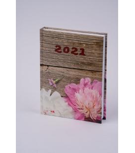 """Daily Diary B6 """"LAMINO"""" tištěný a laminovaný potah """"Pivoňky"""" 2021"""