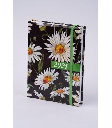 """Daily Diary B6 """"LAMINO"""" tištěný a laminovaný potah """"Kopretiny"""" s gumičkou 2021"""